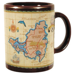 St. Maarten Antique Brown Map CERAMIC MUG