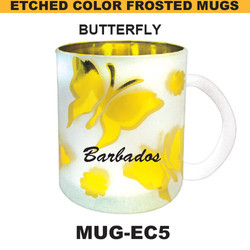 BUTTERFLY Etched Color Frosted Mug