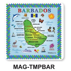 Barbados Map TILE MAGNETS