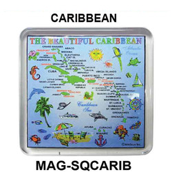 CARIBBEAN MAP SQUARE MAGNET