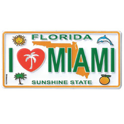 FLORIDA I Love Miami ENAMEL MAGNET LICENSE PLATE
