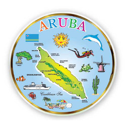 ARUBA MAP, MINI DISH MAGNETS