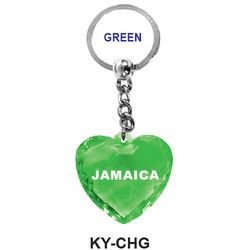 CRYSTAL GREEN HEART Keychain