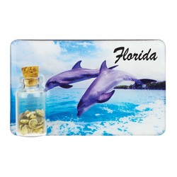 Dolphins Sand and Shell Bottle Magnet