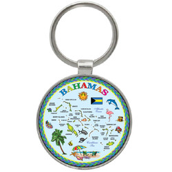 Bahamas Map Foil Round Key Chain