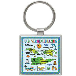 USVI MAP SQUARE KEYCHAIN