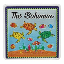 The Bahamas TURTLES Acrylic Foil Magnets