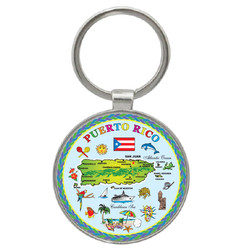 Puerto Rico Map Foil Round Key Chain