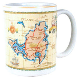 St. Maarten Antique White Map CERAMIC MUG