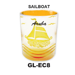 SAILBOAT Etched Color Frosted Glass
