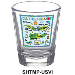 U.S.V.I. MAP SHOT GLASSES