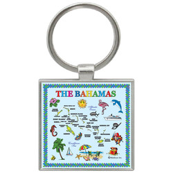 Bahamas Map Foil Square Keychain