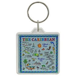 THE CARIBBEAN MAP, Acrylic Foil Keychain