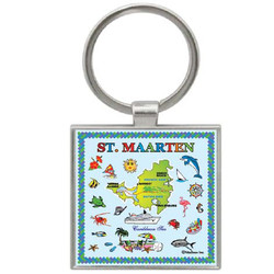 St. Maarten Map SQUARE FOIL Key Chain