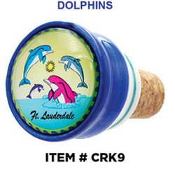 Souvenir Wine Stoppers Dolphins