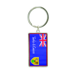 Metallic Double Sided Turks & Caicos Flag Keychain