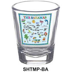 BAHAMAS MAP SHOT GLASSES