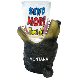 SEND MORE TOURISTS. Bear Shot Glass