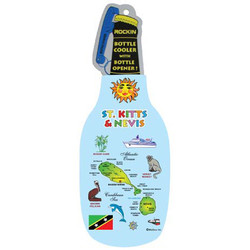 ST KITTS MAP BOTTLE COOLER