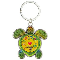 Turtle Foil Key Chain, Red Heart
