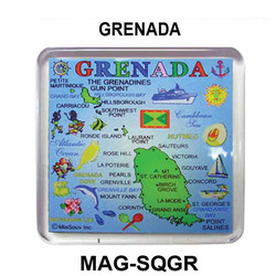 GRENADA MAP SQUARE MAGNET