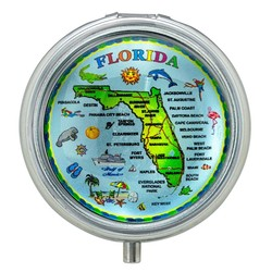Florida Map Glass Top Pill Box