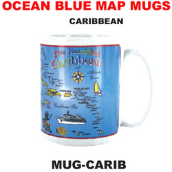 Caribbean Ocean Blue Map Mug