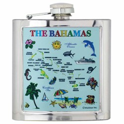 THE BAHAMAS MAP Foil Flask