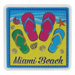 Miami Beach FLIP FLOPS Acrylic Foil Magnets