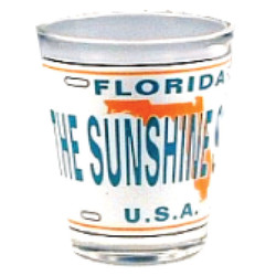 Florida The Sunshine State License Plate Shot Glass