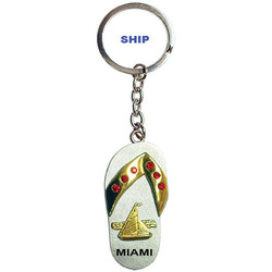 SHIP PEWTER SANDAL KEYCHAIN