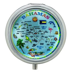 The Bahamas Map Glass Top Pill Box