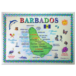 Barbados Map  Foil Magnet