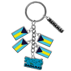 BAHAMAS METALLIC DANGLING MAP AND FLAG KEYCHAIN