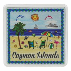 Cayman Islands BEACH SCENE Acrylic Foil Magnets
