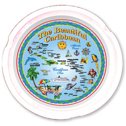 The Caribbean Map Ceramic Ashtray