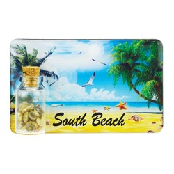 Beach Scene Sand and Shell Bottle Magnet