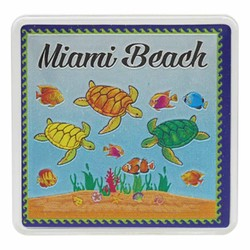 Miami Beach TURTLES Acrylic Foil Magnets