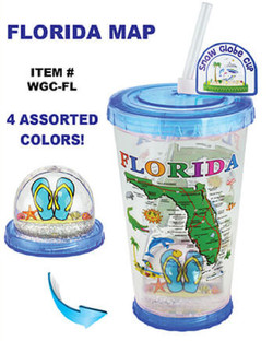 Snow Globe Cups With Straw Florida Map
