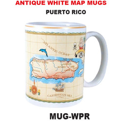 Puerto Rico Antique White Map Mug