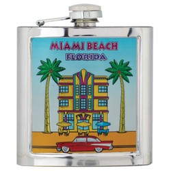 ART DECO Souvenir Foil Flask