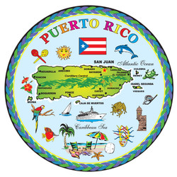 Puerto Rico Map ROUND Foil Magnet