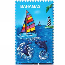 SAILBOAT DOLHIN CERAMIC STAMP MAGNET