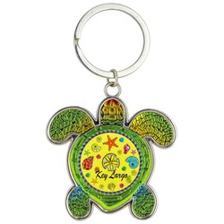 Turtle Foil Key Chain. Sea Shells