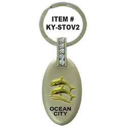 DOLPHIN OVAL PEWTER KEYCHAIN