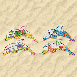 Mosaic Style Ceramic Dolphin Magnets