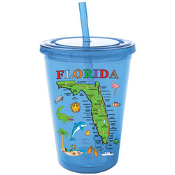 Florida Map Straw Cup