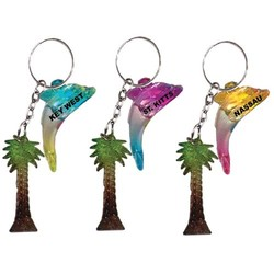 DOLPHIN AND PALM TREE KEYCHAIN