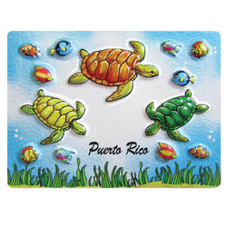 TURTLE EMBOSSED RUBBER MAGNET