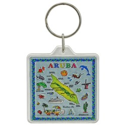 ARUBA MAP, Acrylic Foil Key Chain